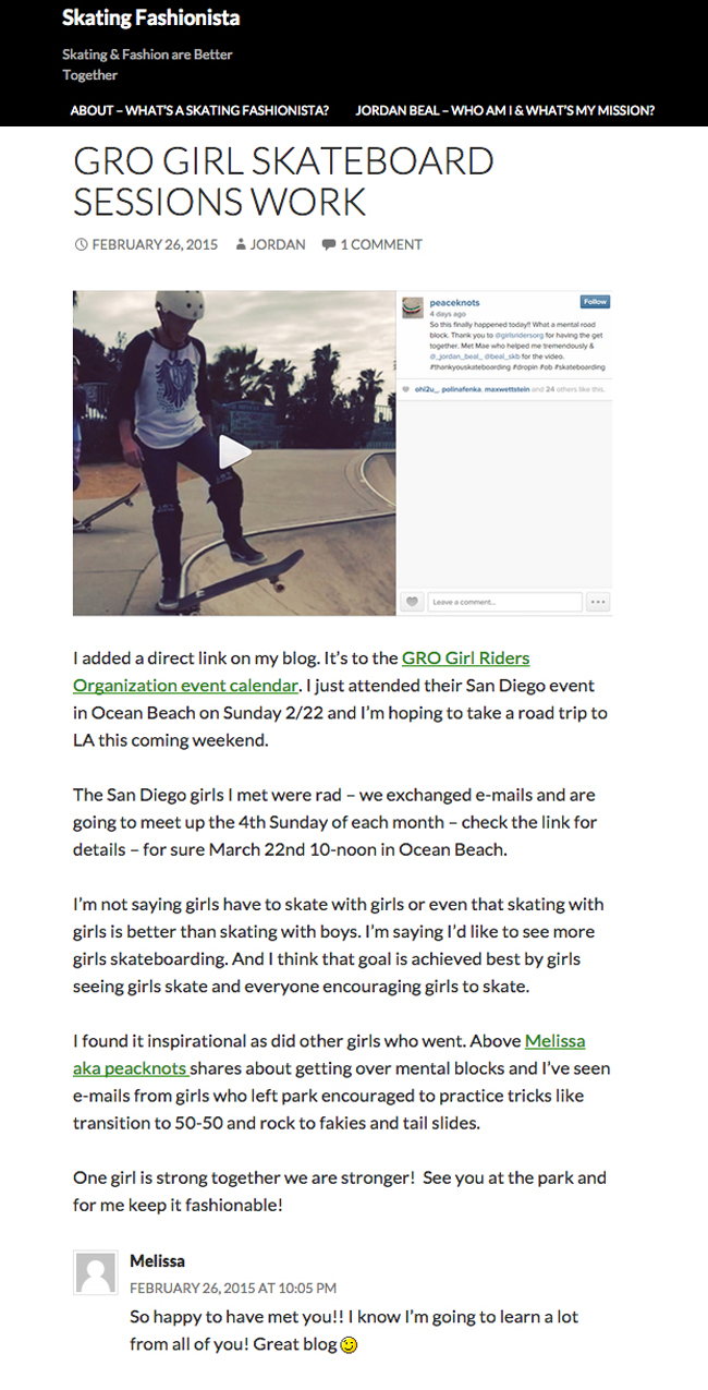 SD GRO On Skating Fashionista