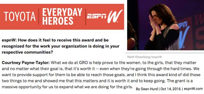 ESPN W Toyota Everyday Heroes Quote GRO